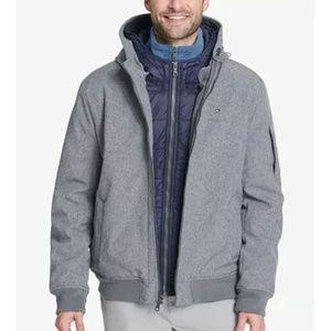 Tommy Hilfiger soft-shell hooded bomber jacket